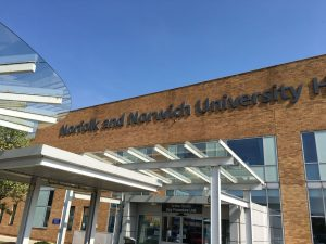 Entrance to Norfolk and Norwich Hospital